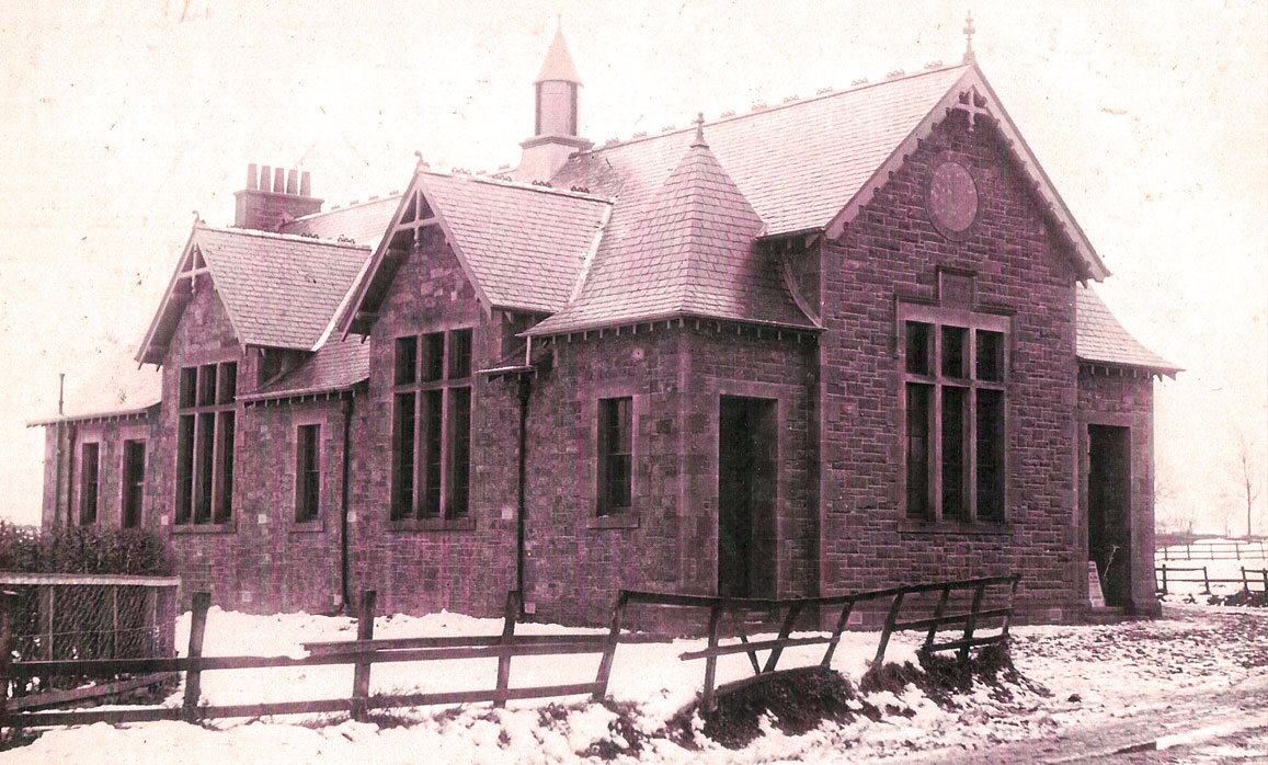 Old hall in snow, before 1897